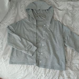 Cropped Button Up Sweatshirt